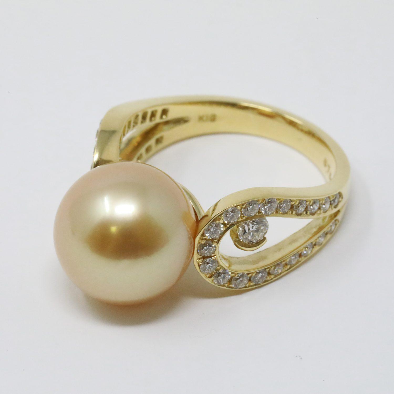 白蝶ゴールド真珠リング